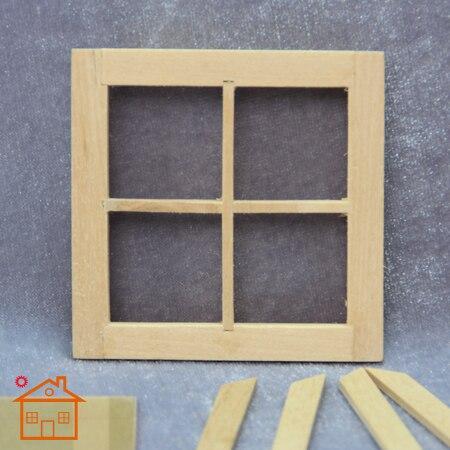Doll house 1: 12 villa window kit mini plain wood color windows embryo model photography props ...