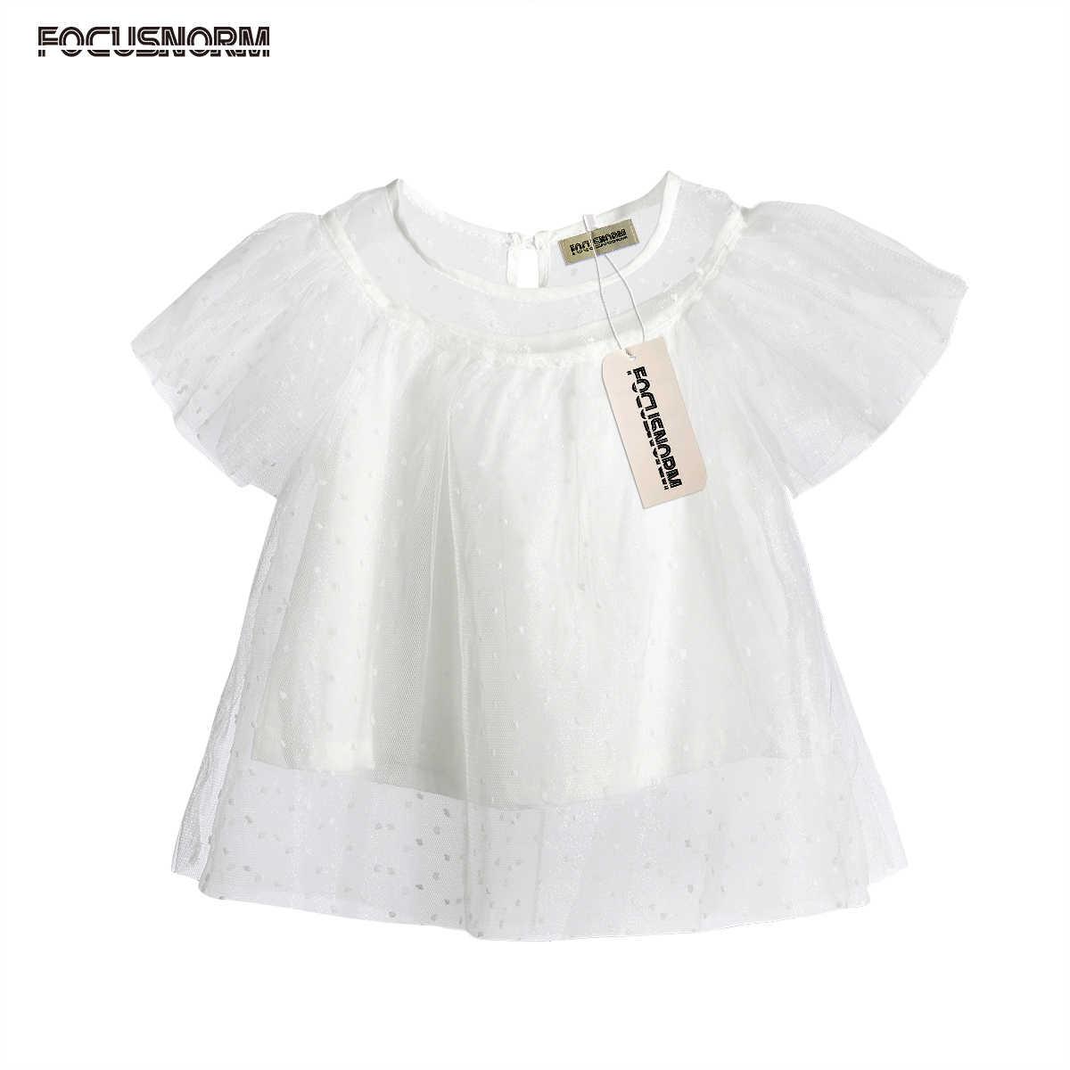 Модная блузка для девочек Кружево Тюль Рубашка с короткими рукавами топ,  футболка детские Обувь для 4f4ec977eaf