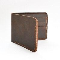 El yapımı Eski Çılgın At Erkekler Deri Cüzdan retro cüzdan kleine portemonnee leren cüzdan erkekler hakiki deri erkek cüzdan