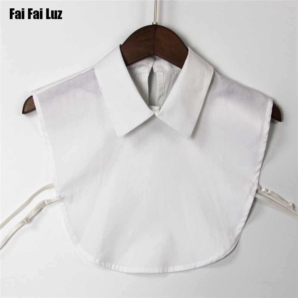 Women white color 100% cotton shirt detachable collars fashion solid pionted false fake collar back open apparel accessories