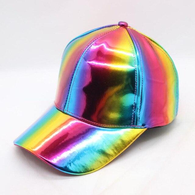 daaa7391dcf Rainbow PU Leather Baseball Cap Adjustbale Snapback Hats for Men Women  Purple Gold Silver 6 Panels