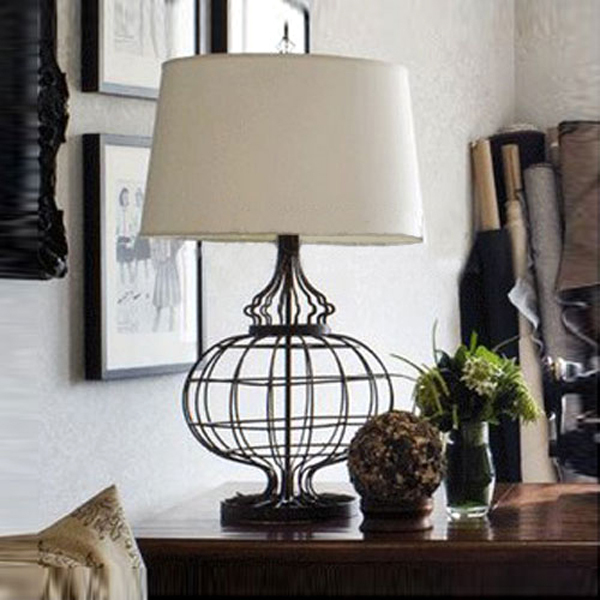 Loft Vintage Modern Lustre Iron Fabric Edison Table Lamps Industrial ...