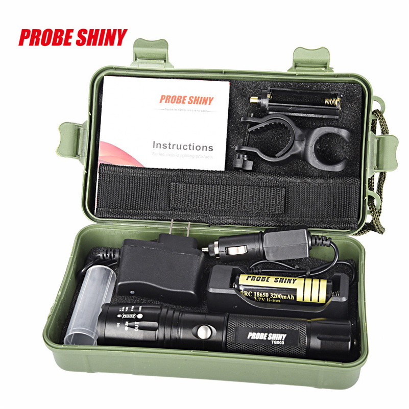 X800 Zoomable XML T6 LED Tactical Flashlight+18650 Battery+Charger+Case bicycle lights camping outdoor bike accessories cree xm l t6 bicycle light 6000lumens bike light 7modes torch zoomable led flashlight 18650 battery charger bicycle clip