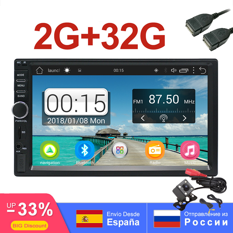 2 din Android Car Radio 2GB RAM 32GB ROM Universal Auto Car Stereo Quad Core GPS Navigation 7 1024x600 Touch Bluetooth wifi Cam