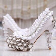 Luxus Hochzeit Kleid Schuhe Diamant mit hohen absätzen Frau Formelle kleidung Schuhe Brautschuhe Brautjungfer Abendgesellschaft Strass Schuhe