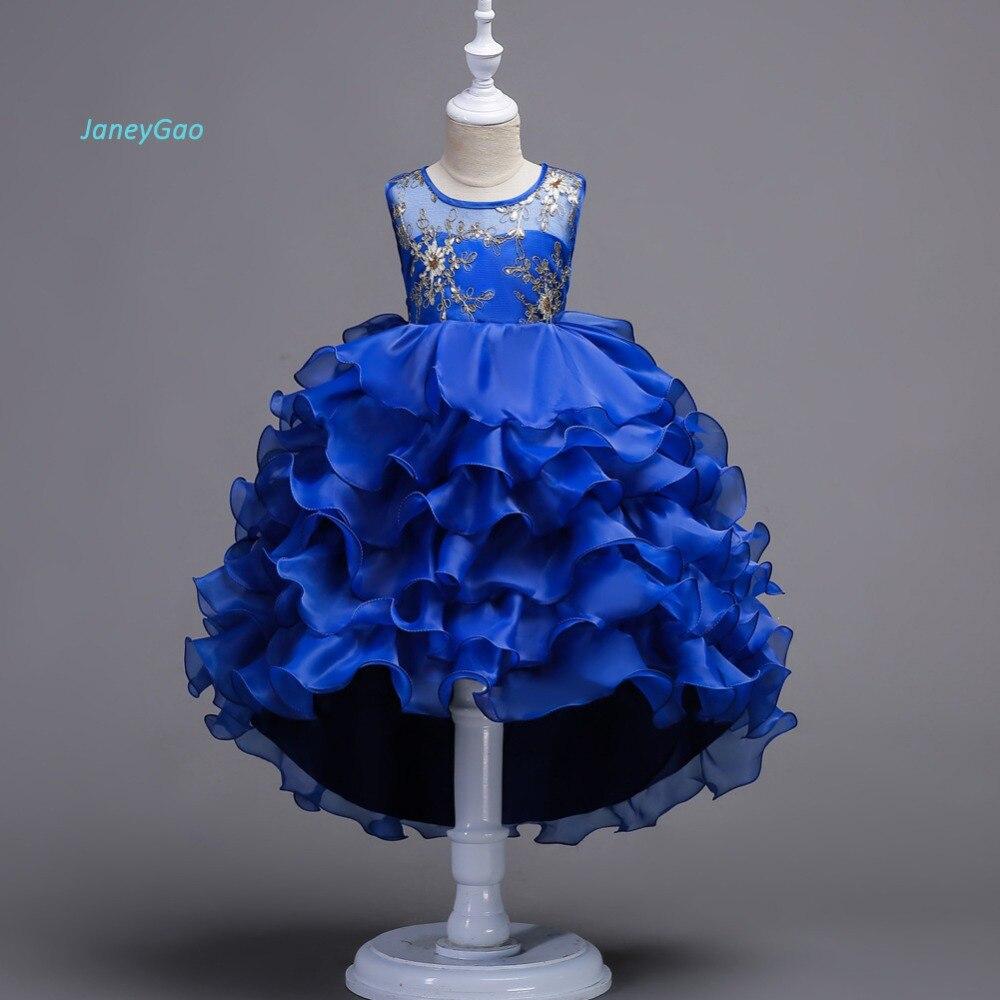 JaneyGao Flower Girl Dress For Wedding Party Elegant Short Front Long Back Tiered Girl Dress For Prom  First Communion Dresses
