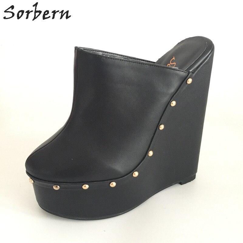 Sorbern черный острый носок клиновидная Платформа Высокие Босоножки на каблуке зима Outerdoor тапочки туфли лодочки теплая внутренняя Короткие Пл