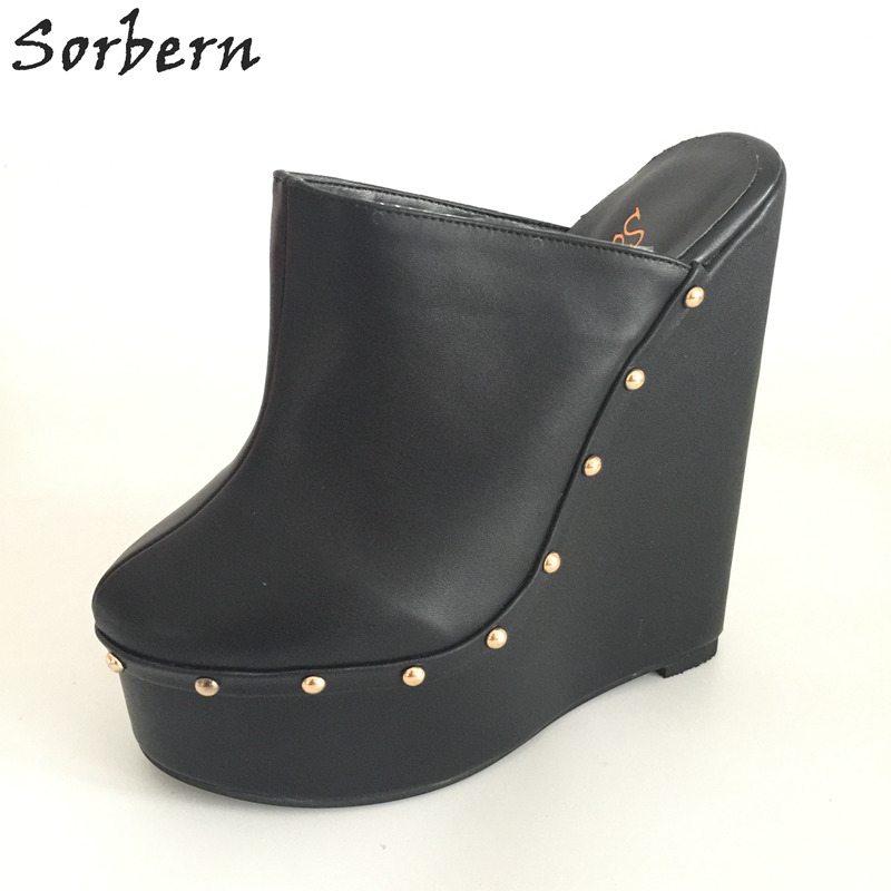 316137d9e27 Sorbern Black Pointed Toe Wedge High Heel Slingbacks Winter Outerdoor  Slipper Pump Shoes Warm Inner Short Plush Custom Exclusive