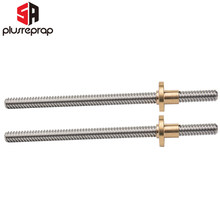 2PCS T8 Lead 8mm Screw 300/350/400mm with Brass Nut Trapezoidal Spindle Screw Lead Screw Rod T Shape Linear Rail Bar Shaft(China)