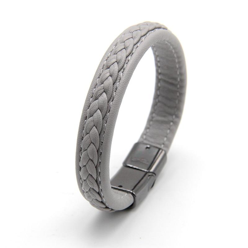 ZG Fashion Men Leather Bracelets Black/Brown Color Bracelets & Bangles for Men Jewelry Black Buckle Punk Gift