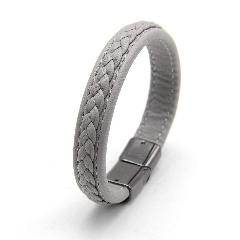 Zg модные Для мужчин Кожаные браслеты черный/коричневый Цвет Браслеты для Для мужчин Jewelry с черной пряжкой панк подарок