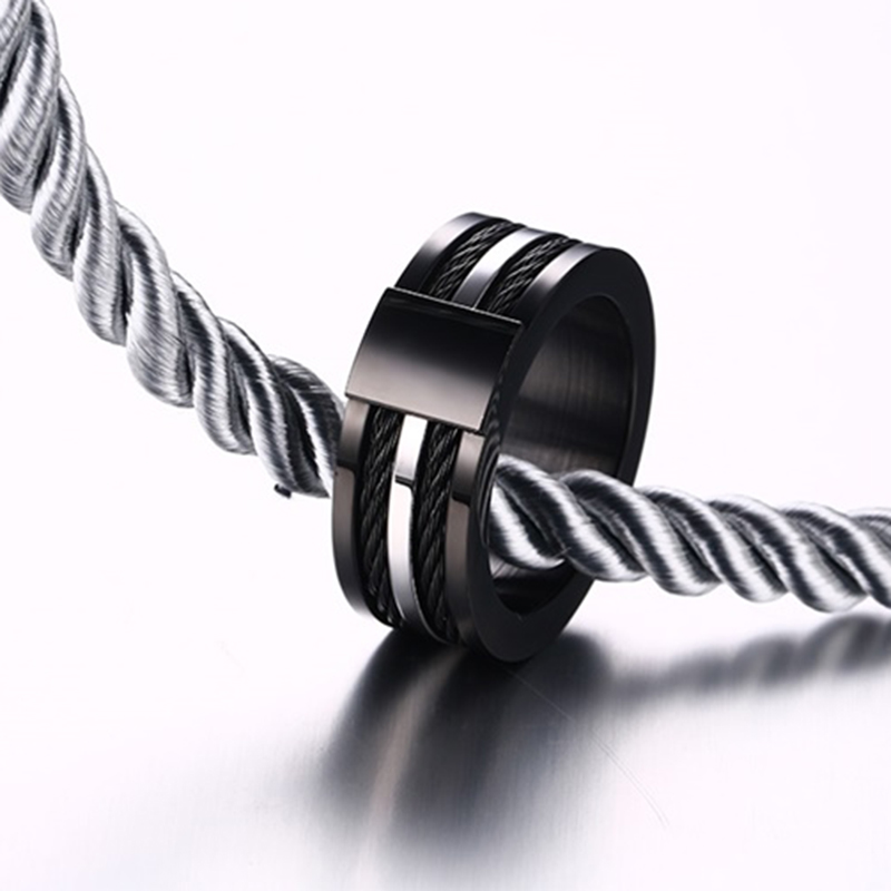 Male Black Titanium Ring Punk Wire Ring for Men Quality Stainless ...