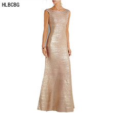 Women's Long Bandage Dress Floor Length Newest  Evening Club Celebrity Party Dress Heavy Rayon Knitted Dress Gold 2344 XS S M L