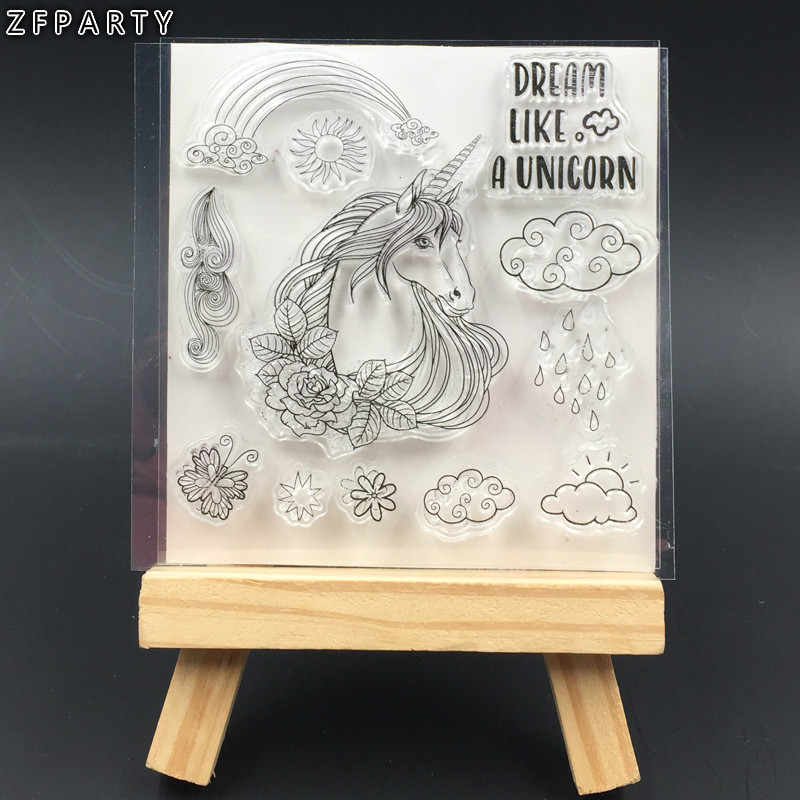 ZFPARTY Unicorn Transparent Clear Silicone Stamp/Seal for DIY scrapbooking/photo album Decorative Card Making lovely animals and ballon design transparent clear silicone stamp for diy scrapbooking photo album clear stamp cl 278