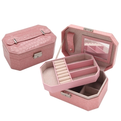 Luxury Crocodile Leather Jewelry Organizer Case Jewel Box Women Birthday Gift Jewelry Collection Two Layers Storage Carrying Box