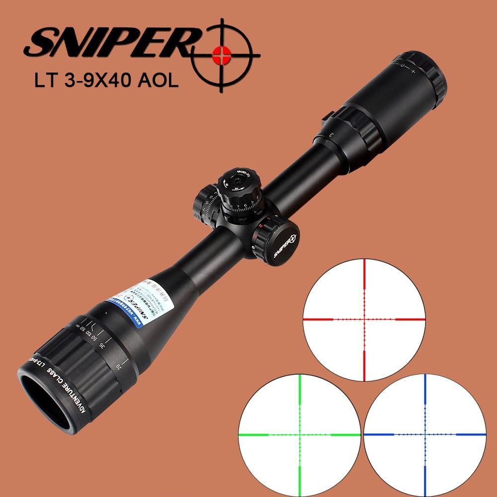 SNIPER 3-9X40 AOL Optical Sight Riflescope Full Size Red Green Blue Mil-Dot Llluminate Equipment Hunting Tactical Rifle Scope