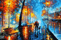 Frameless Diy Abstract Landscape Night Walk Painting By Numbers Picture Oil Painting Set On Canvas For