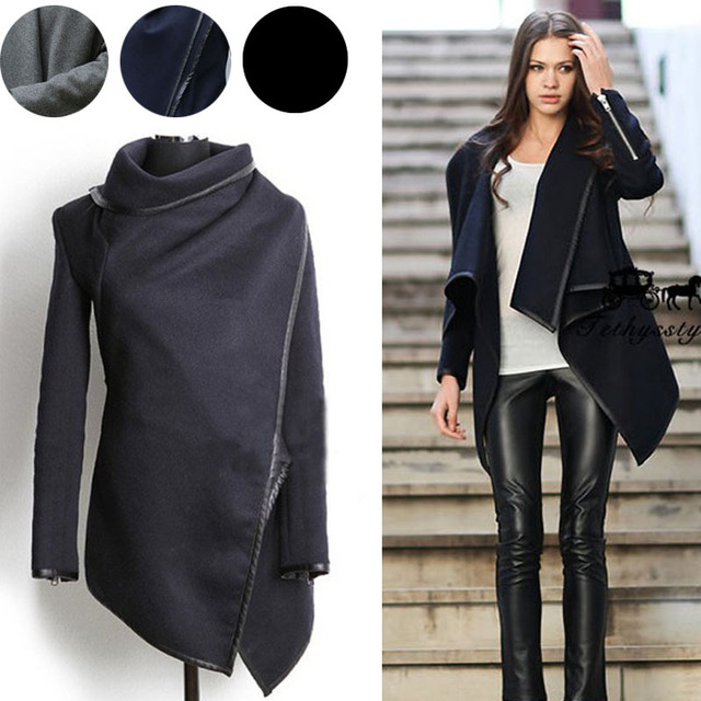 a45b2bbdce Women's Slim Fit Irregular Wool Coat Windbreaker Jacket Autumn Winter Black  Khaki Fashion Overcoat Woolen Coat Free Shipping
