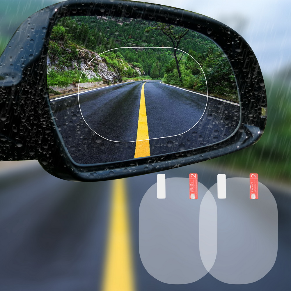 2PCS/Set Anti Fog Car Mirror Window Clear Film Anti-glare Car Rearview Mirror Protective Film Waterproof Rainproof Car Sticker 3