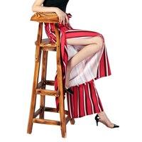 Wide Leg Pants Summer 2017 Fashion High Waist Easy Stripe Sandy Beach Pantskirt Vent Chiffon Leisure Time Pants Women