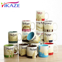 YIKAZE Collection Mug Ceramic Coffee Mugs Travel City Commemorate Cup China Shenzhen Beijing Spain Milk Cup