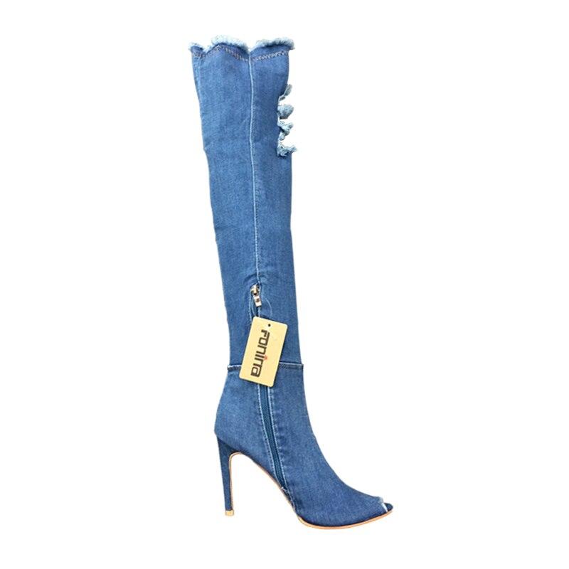 Hauts Pompes Talons Jeans light Chaussures Bottes Sexy Blue Femmes Blue Chaussure 535 Black Blue sky the À D'été Over genou Fonirra Toe blue Denim Peep Haute dark MSzpVU