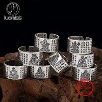 Heißer Verkauf S925 Reine Antiken silber Männlichen und weiblichen Ring Religiöse Schriften Wächter der acht, herz der Buddha