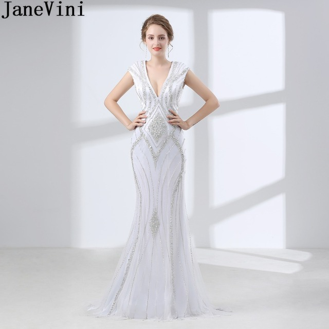 351a6a9cb9dc JaneVini Sparkly Crystal Women Bridesmaid Dresses Long Beaded White Wedding  Guest Dinner Gown Backless V-
