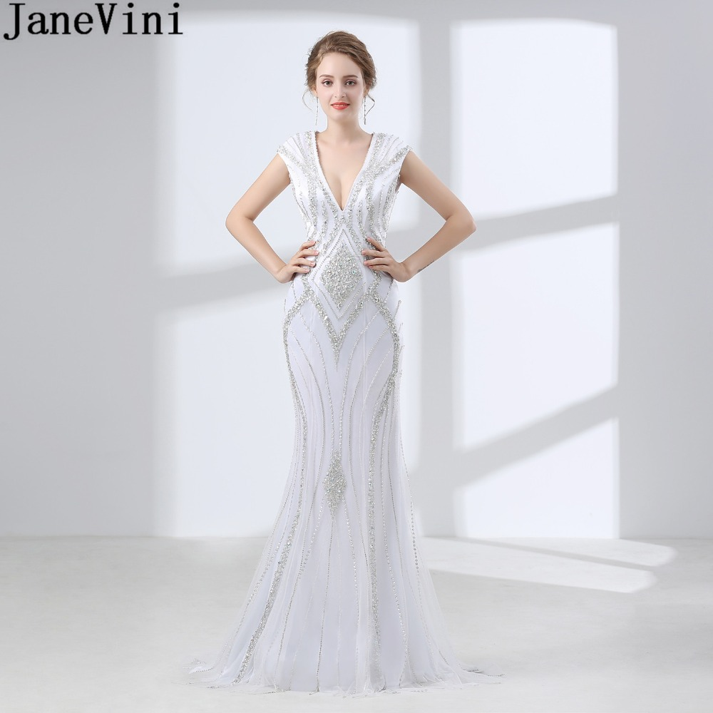 JaneVini Sparkly Crystal Women   Bridesmaid     Dresses   Long Beaded White Wedding Guest Dinner Gown Backless V-Neck Formal   Dress   2018