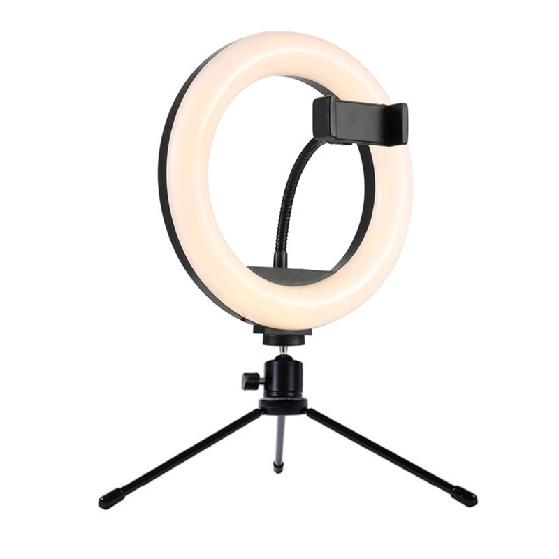 Table Lamp 8inch Studio Ring Light LED Photography Photo Camera Lights with Table Metal Tripod Holder