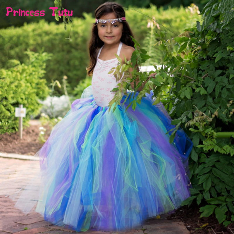 Handmade Girls Tutu Skirt Ankle-Length Children Skirt for Girls Birthday Party Tutu Pettiskirt Kids Girls Tulle Long Skirts 2-14 girls single breasted raw hem skirt