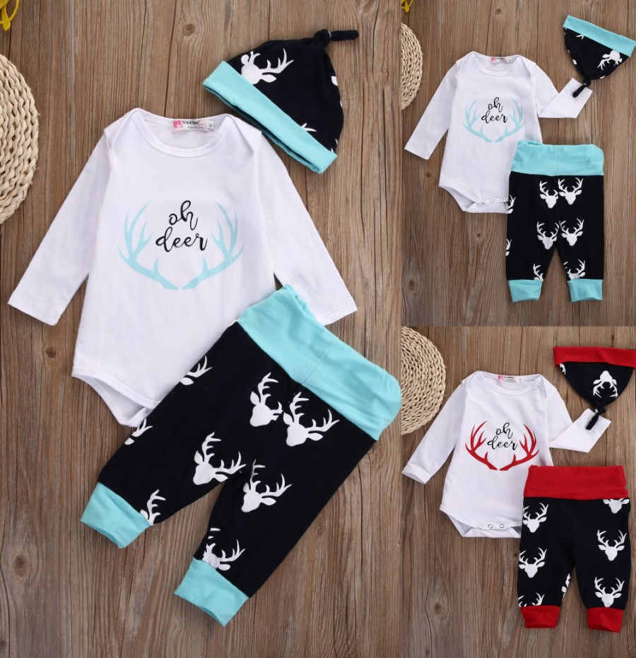 Infant Baby Boy Girl Tops Deer Romper Tops+Long Pants Legging Hat Baby Winter Spring Clothes Baby 3pcs Clothing Set Outfit infant tops pants love pattern headband baby girl outfit set clothing 3pcs kid children baby girls clothes long sleeve