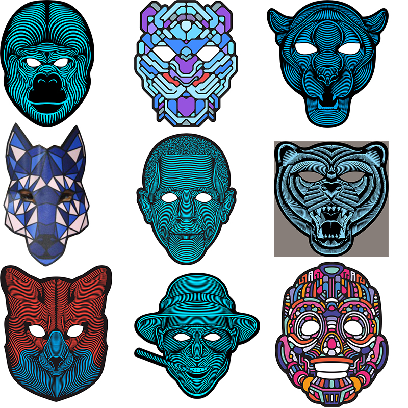Hot Flashing Cosplay Wire Mask Halloween LED Mask Costume Anonymous Mask for Glowing Dance Carnival Party Masks