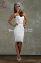 DAW1878  Wholesale — Hot Lace White Little  Bridal Gown Sweetheart Short Fitted Wedding Dresses Knee Length Beaded Belt Sheath