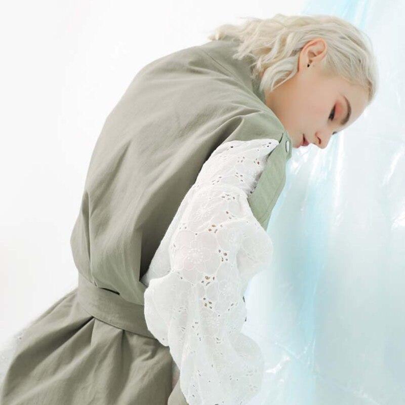 [EAM] 19 New Spring Stand Collar Long Sleeve Back Lace Split Joint Large Size Jacket Women Coat Fashion TideJK291 7
