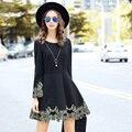 Women Long Sleeve Black Embroidery Dresses 2016 Plus Size Autumn Winter A-Line Dress Casual Robes Noires RS639