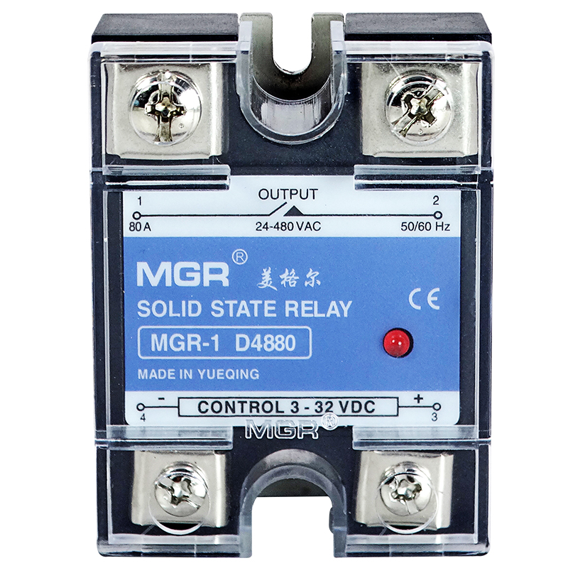MGR SSR 80A DC-AC Solid state relay Quality Goods MGR-1 D4880 Single Phase Solid State Relay input 3-32VDC ssr mgr 1 d4860 meike er normally open type single phase solid state relay 60a dc ac