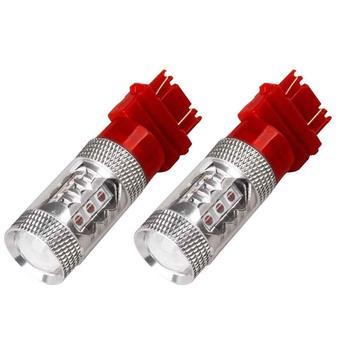 2pcs 3157 Red LED Strobe Brake Tail Light High Power flash LED Prevent Rear-end Collision External Lights 12V-24V