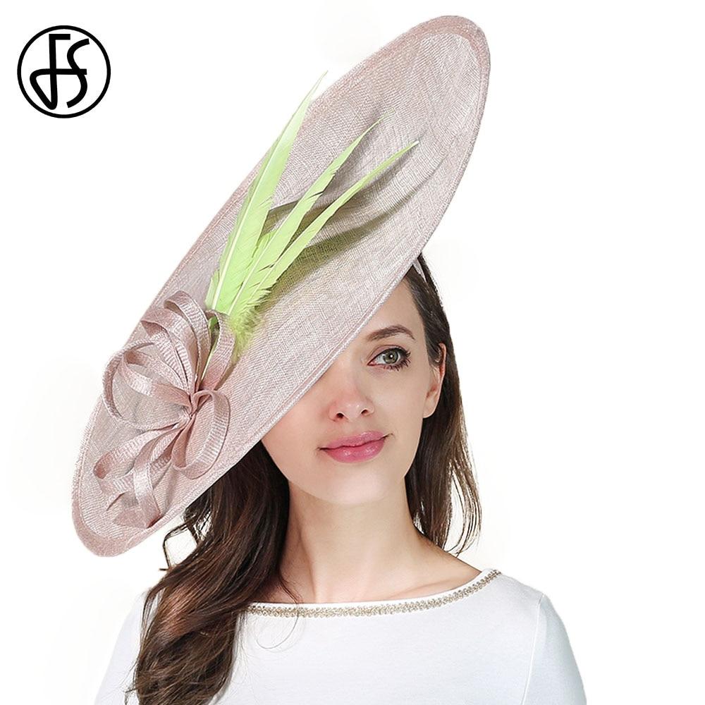 4b4914541a9 FS Sinamay Kentucky Derby Hat For Women Elegant Church Wedding Hats Formal  Vintage Large Big Fascinator