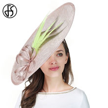 FS Kentucky Derby Hat Per Le Donne Elegante Chiesa Sinamay Cappelli Da  Sposa Formale D epoca di Grandi Dimensioni Grande Fascina. 3d616ec1c460