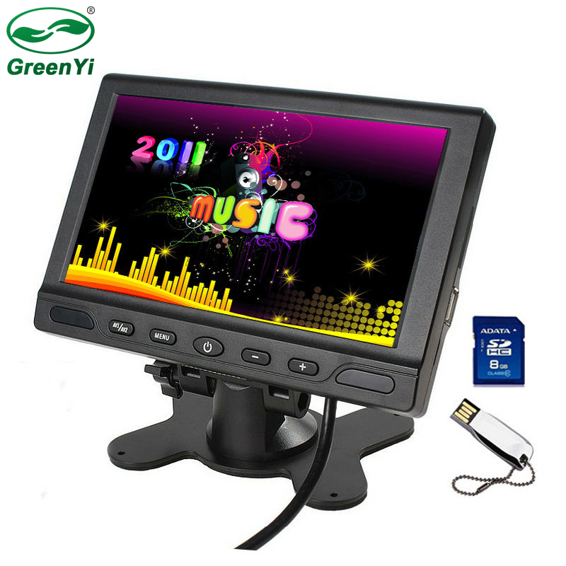 GreenYi TFT Screen 800x480 7 Auto Parking Monitor With 2 Audio Speaker Support SD USB Flash