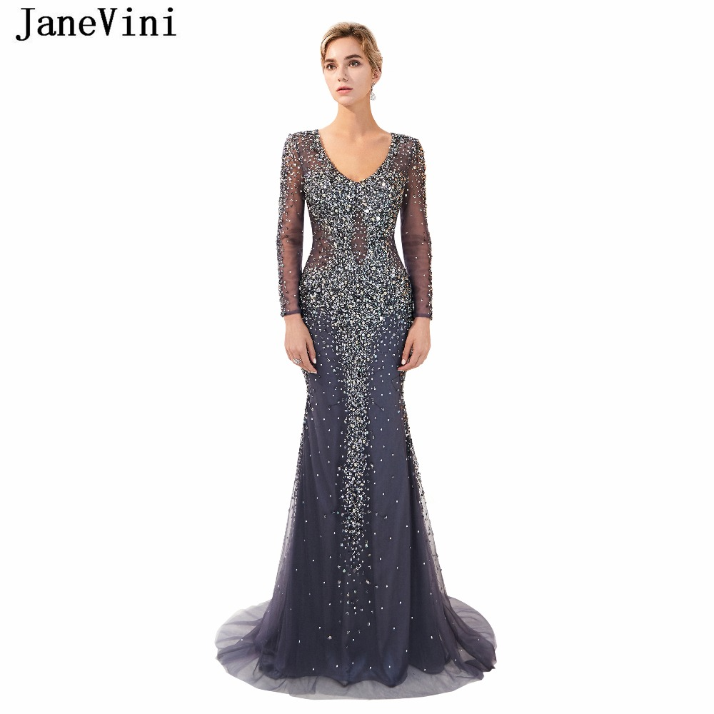 JaneVini 2018 Luxury Beading Long Sleeves Tulle Bridesmaid Dresses Scoop Neck Sweep Train Sexy Illusion Back Mermaid Prom Gowns