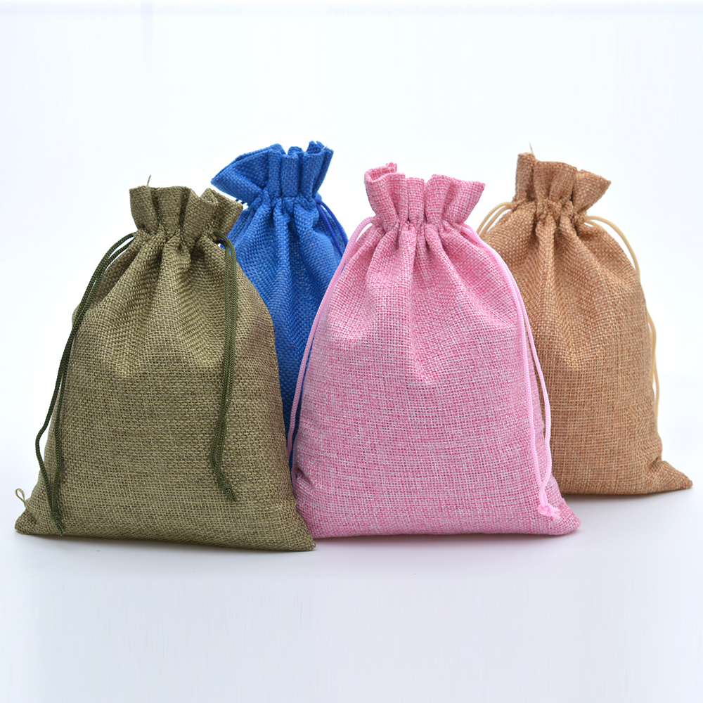 Jute Burlap Drawstring Bags For Candy Handmade Soap 15x20cm Jewelry Packaging Wedding Favor Bag Linen Drawstring Pouch 50pcs