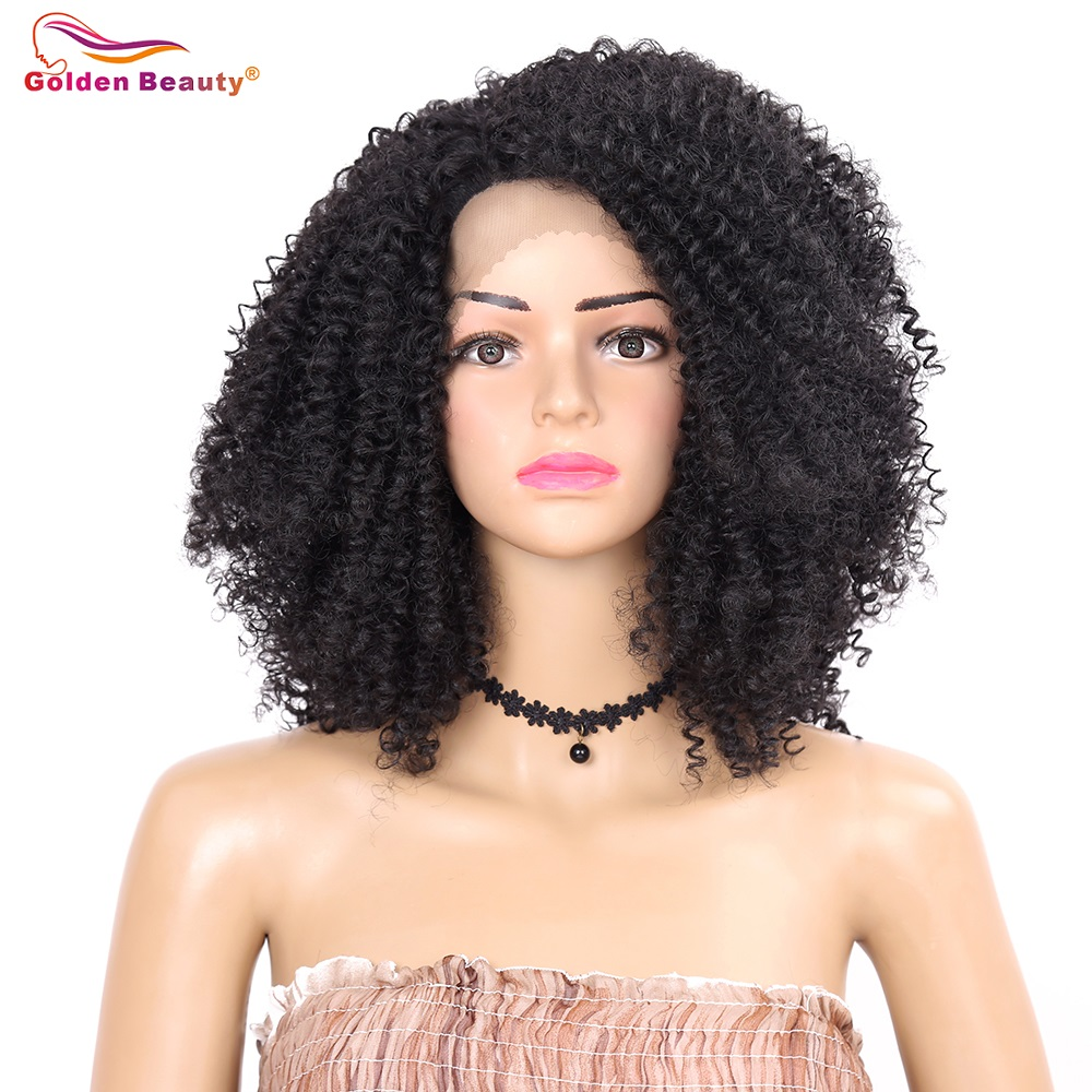 12inch Kinky Curly Lace Front Hair Wig Heat Resistant Side Part Short Synthetic Wigs For Women Golden Beauty Attractive Appearance