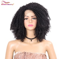 12inch Kinky Curly Lace Front Hair Wig Heat Resistant Side Part Short Synthetic Wigs for Women Golden Beauty