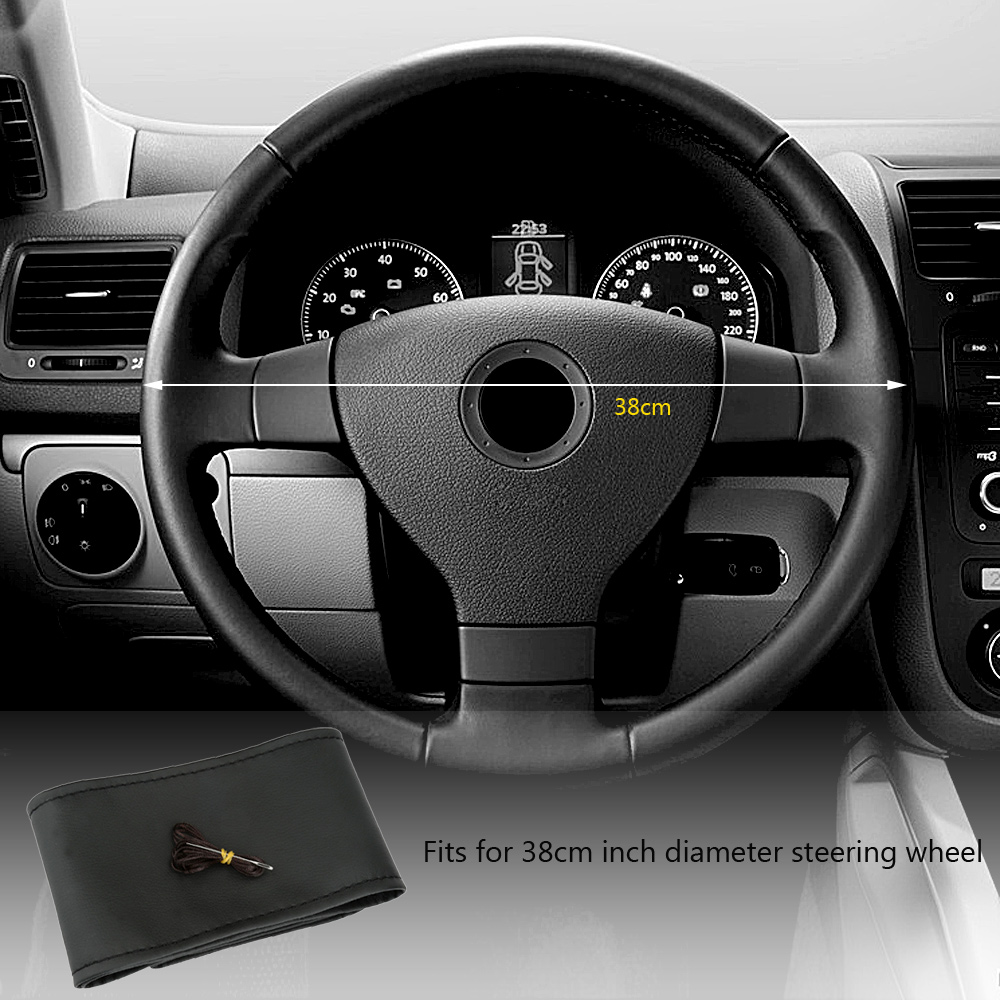 Auto DIY Black Leather Steering Wheel Cover Soft Leather Wrap Sew-on Kit 38CM with Needle and Thread Car Interior Accessories