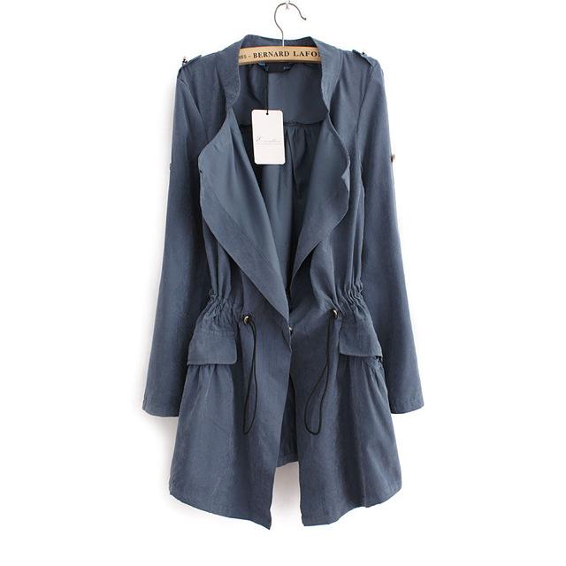 2017 nuevo llega el otoño de las mujeres larga trinchera abrigos de manga completa con cordón de La Cintura femenina moda de la calle casual wear tops