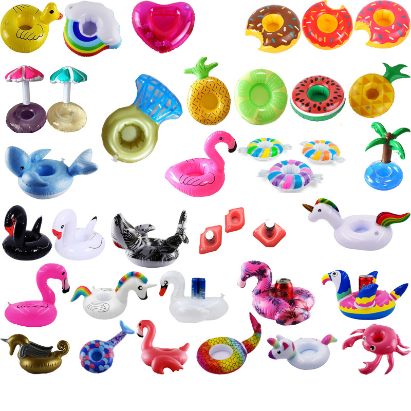 6 Pcs Lot Pool Party Inflatable Drink Floats Inflatable Cup Holder Animal Fruit Series Water Coaster Floating Drink Cup Holder