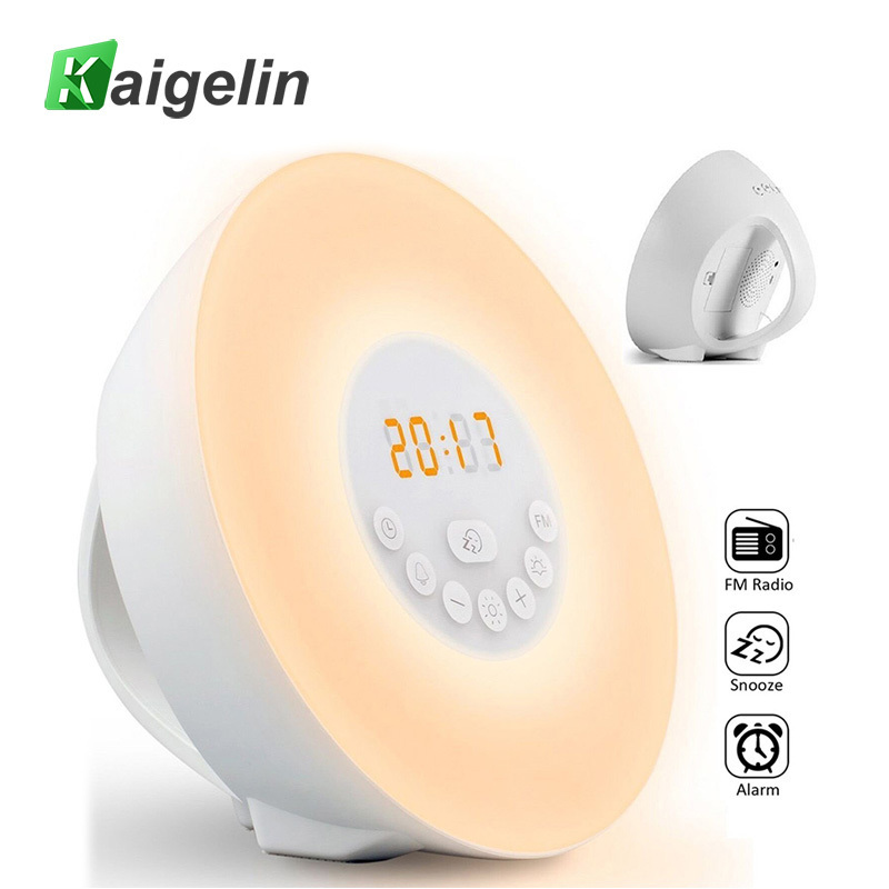 Novelty 7 Color LED Night Light Wake Alarm Clock Light 10 steps Dimmable Touch Sensor Control USB Charging Table Luminarias Lamp