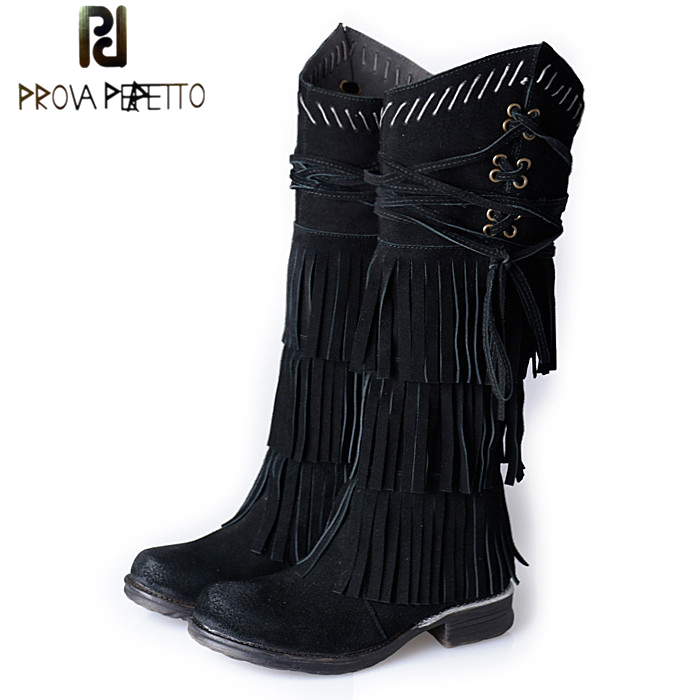 Prova Perfetto Suede Leather Women Knee High Boots Full Fringed High Boots Female Platform Flat Botas Tassels Winter Martin Boot